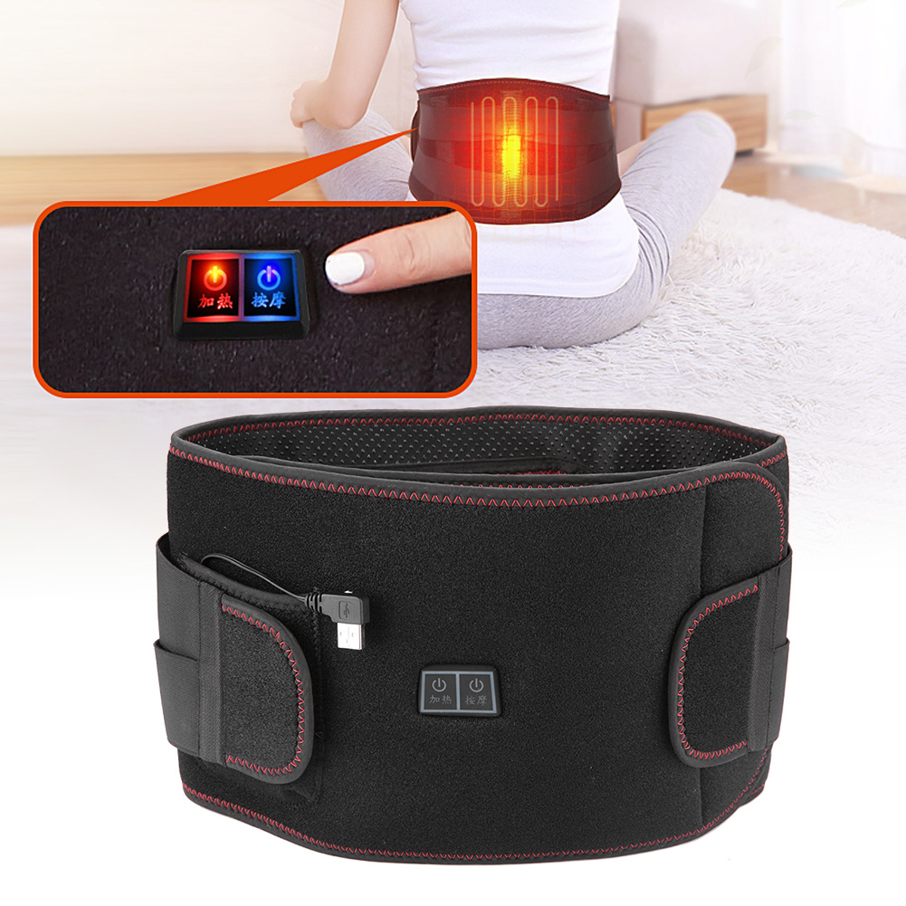 3Sizes Electric Heat Therapy Far Infrared Vibration Hot Compress Waist Pain Relieve Belt Band Brace Support