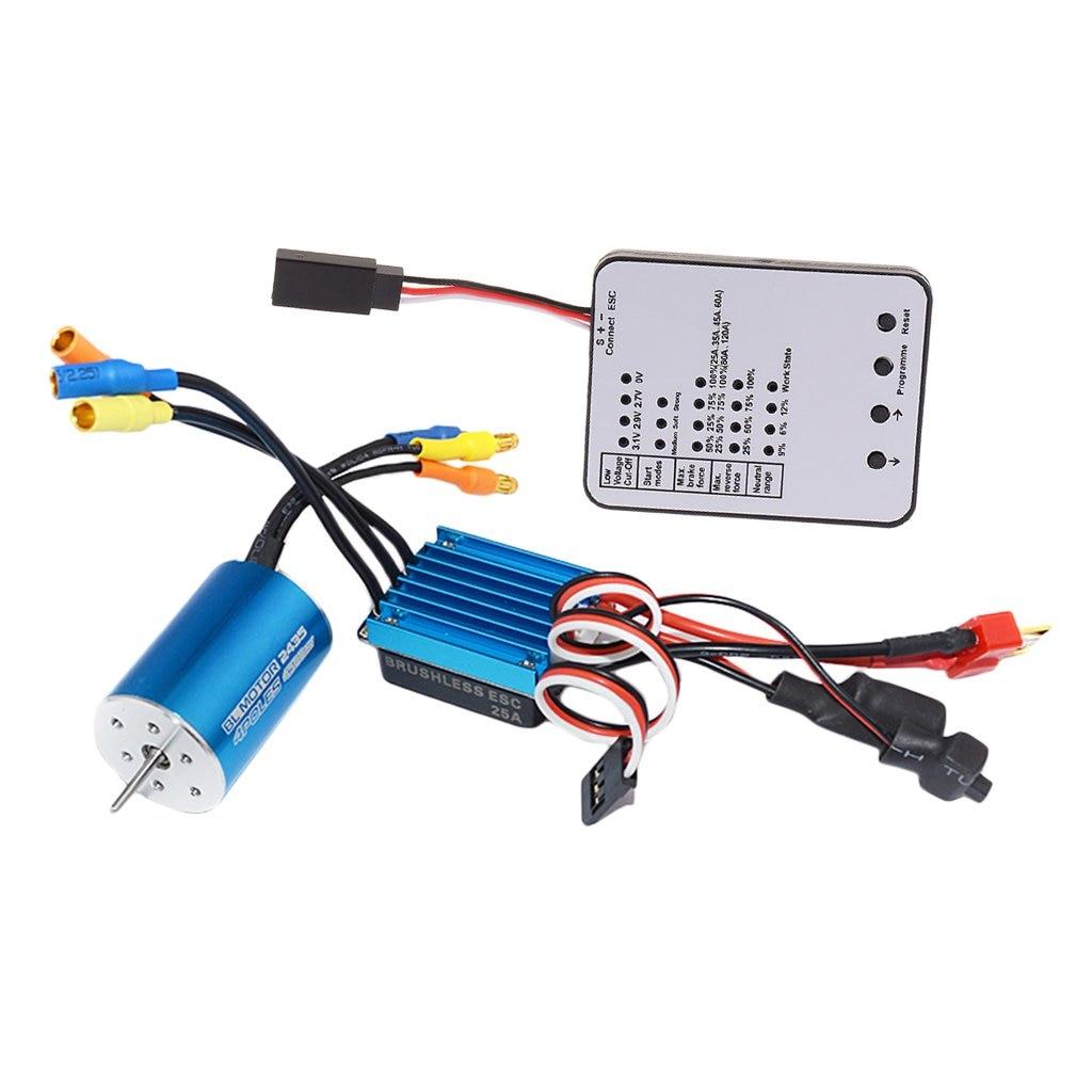 2435 4500KV moteur Brushless + 25A ESC régulateur de vitesse électrique + LED carte de programme pour 1/16 1/18 RC voiture pièces de rechange accessoires