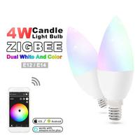 LAIDEYI Zigbee ZLL Led 4W Candle Light Bulb rgb/rgbw/rgbww/cw Smart APP control AC100 240V E12/E14 wotk with amazon echo plus