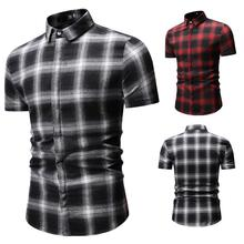 цена Lattice Mens Shirts Short sleeve White Red Summer New Camisa masculina Check Design Plaid Shirt Dress Turn-down collar