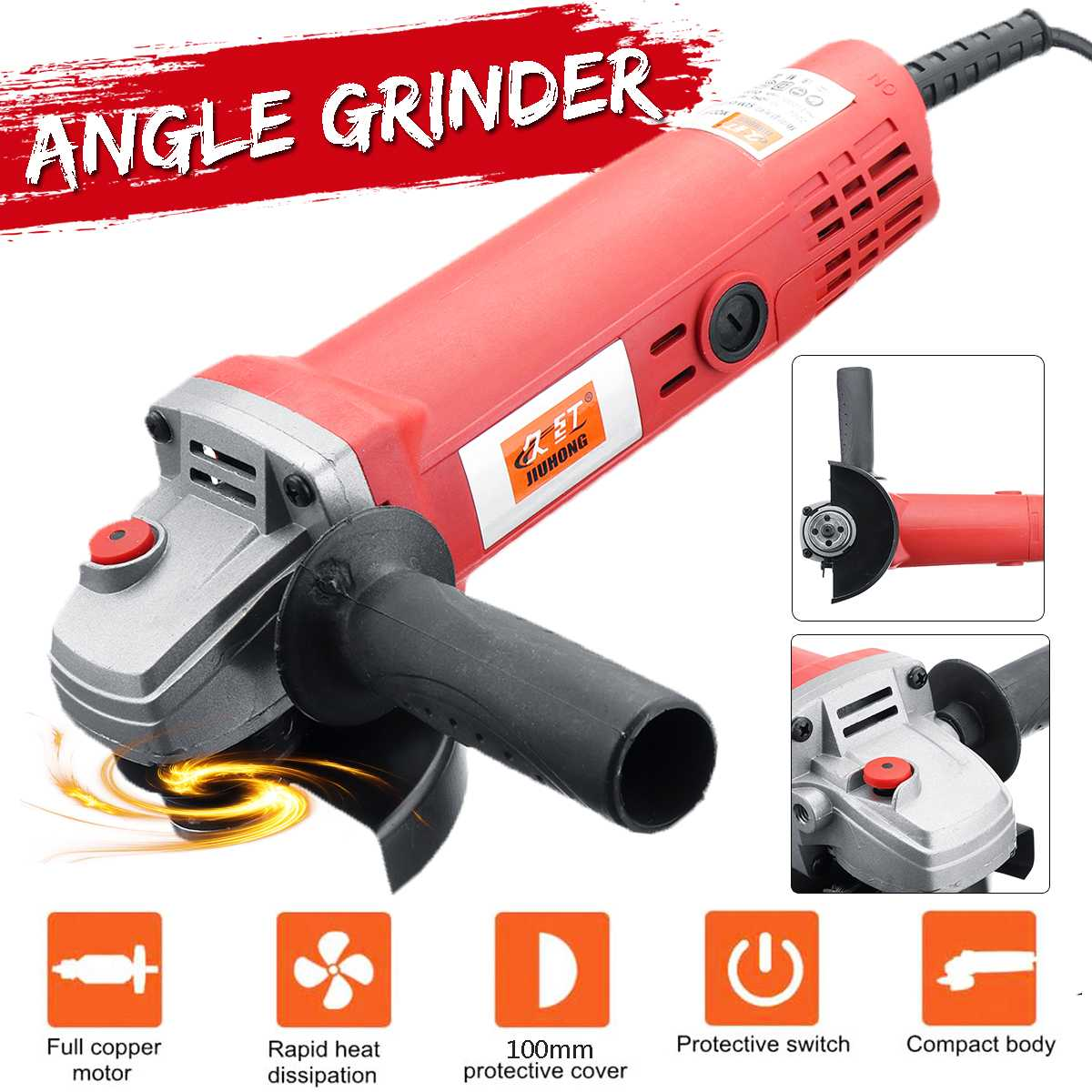 220V EU Plug Electric Angle Grinder 1350/980W 115/100mm Adjustable Speed Metal Cutting Tool 360 Rotation Adjustable Anti-slip220V EU Plug Electric Angle Grinder 1350/980W 115/100mm Adjustable Speed Metal Cutting Tool 360 Rotation Adjustable Anti-slip