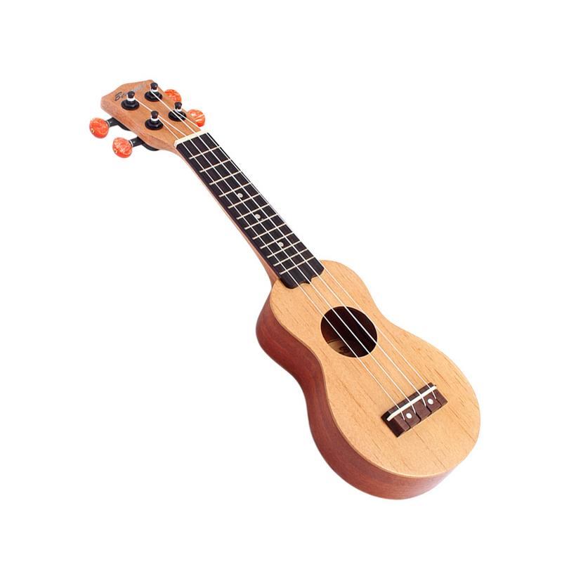 17 inch 12 Frets Red pine Ukulele Mini Guitar Uku 4 Strings Hawaiian Guitar Musical Instruments For Kids Unisex Beginners Party