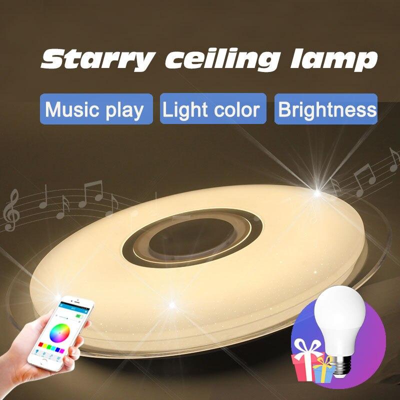 Lampara techo plafonnier plafonni led moderne Bluetooth Musique specker chambre salon moderne De Noël lumières de décoration