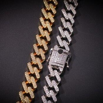 Kubanische Gliederkette Gold | 14mm Prong Cubans Link Halsketten Iced Zirkonia Gold/Weiß Gold Farbe Hiphop Kette Schmuck Für Männer Drop Verschiffen