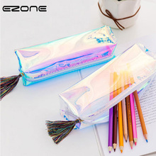EZONE Leather Pencil Bags For Student Pen Box Stationery School Office Supplies Creative Iridescence Pencil Case For Girl Boy iridescence clear pencil case