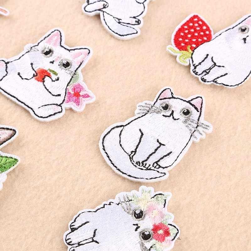 Pulaqi リトルホワイト猫家庭的なパッチのために鉄服かわいい漫画動物パッチ子供のための男性の女性の Tシャツの装飾 F