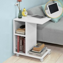 SoBuy FBT48 Modern Side Table End Table Coffee Table on Wheels with 2 Storage Shelves  Living Room Furniture giantex rectangle coffee table metal frame accent cocktail table with storage shelf new living room furniture hw57352