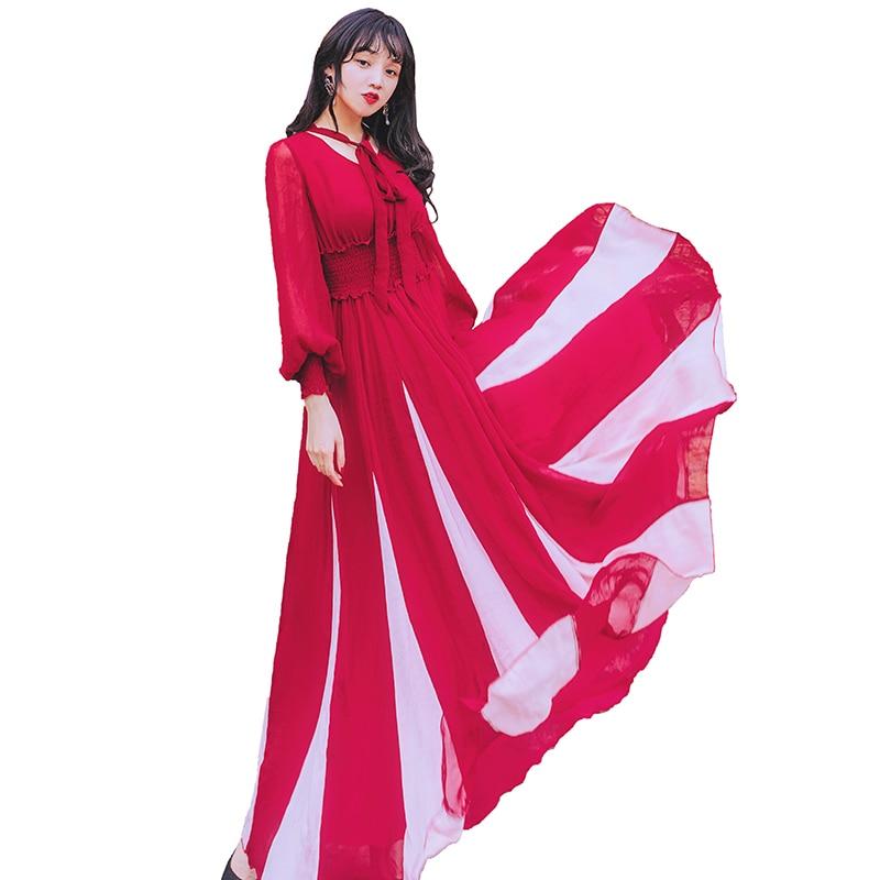 Vintage femmes longue robe en mousseline de soie chanvre couleur correspondant A vacances robes vert vin rouge 3996