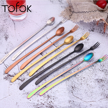 Tofok Stainless Steel Long Handle Dessert Spoon Forks Tea Coffee Stir Scoop Milk Salad Soup Soup Fruit Ladle Kitchen Tableware 2pcs double metal stir spoon for coffee salad dinner