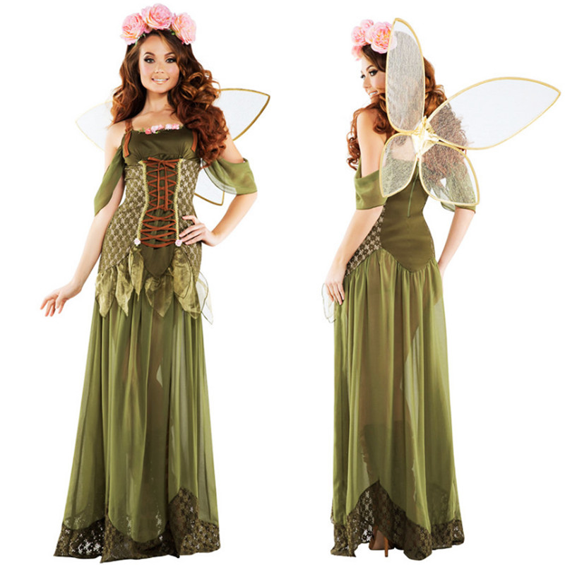 Adult Green Elf Cosplay Dress Forest Fairy Tinkerbell ...
