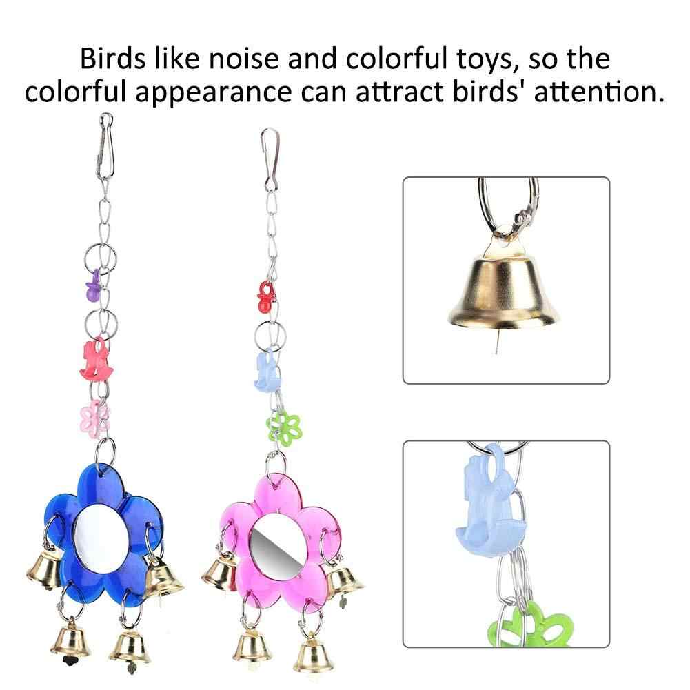 Bird Toy Supplies Parrot Birds Toys Hanging Bell Mirror Bird Cage Standing Bar Accessories toys for parrots
