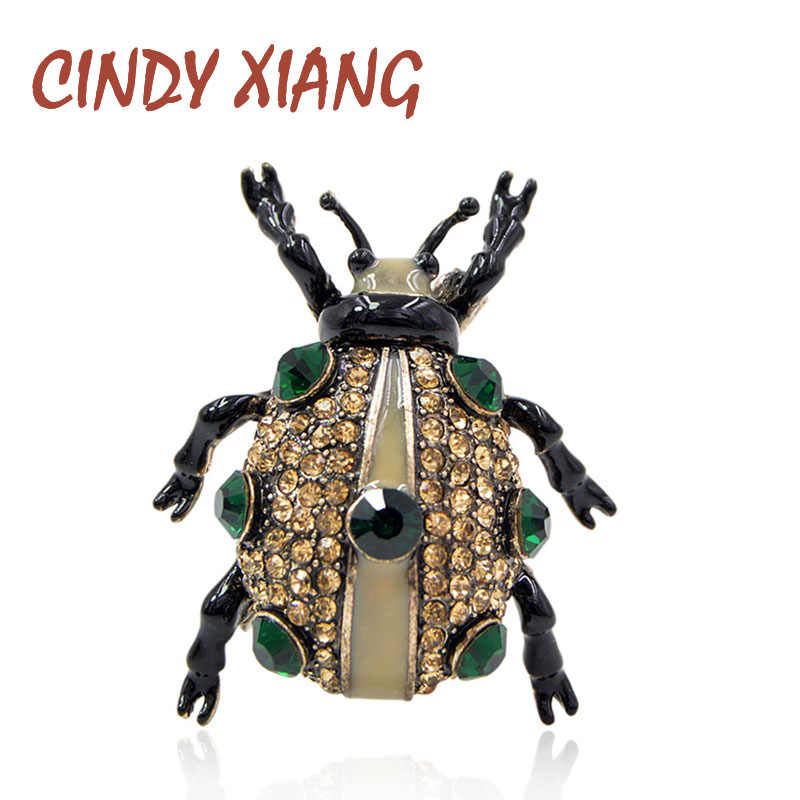 CINDY XIANG 3 Colors Available Rhinestone Beetle Brooches for Women and Men Shipping Bugs Brooch Pin Fashion Jewelry Good Gift