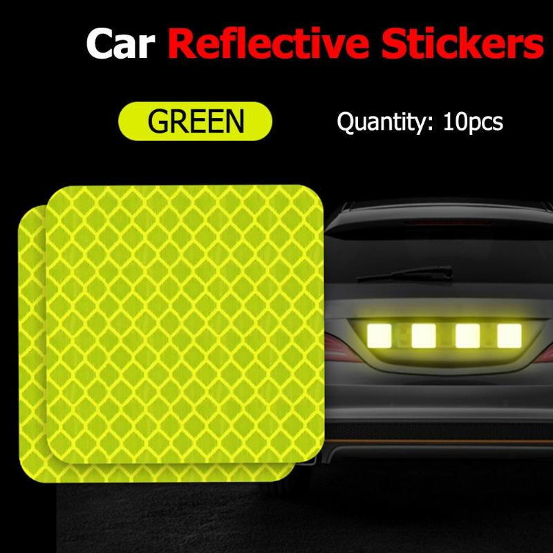2pcs/4pcs/10pcs Car Reflective Sticker In Reflective Strips Auto Car Motorcycle Decal Warning Tape Rear Tail Light Bumper Strip