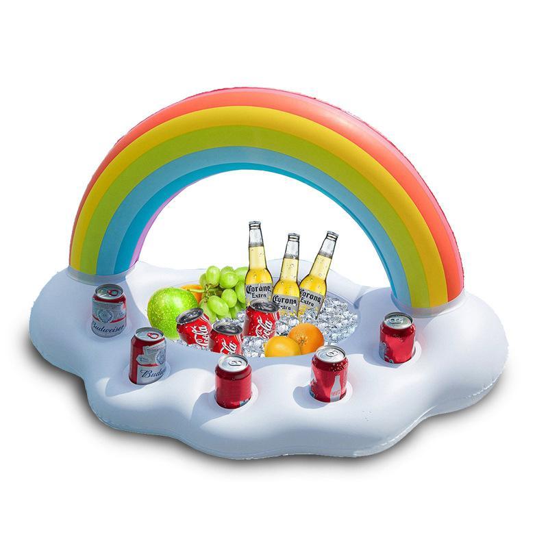 LeadingStar Inflatable Rainbow Party Ice Bar Floating Cloud Shape Cup Holder Bar Tray Beach Kids Toys