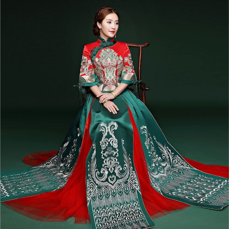 Bride Chinese Wedding Cheongsam Dress Women Phoenix Embroidery Dresses Traditional Red Satin Tops Woman Long Sleeve Qipao
