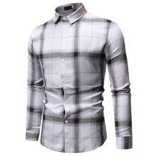 Long sleeve Shirt Menss clothing Fashion Casual Dress Mens Lattice Check Plaid Design White black