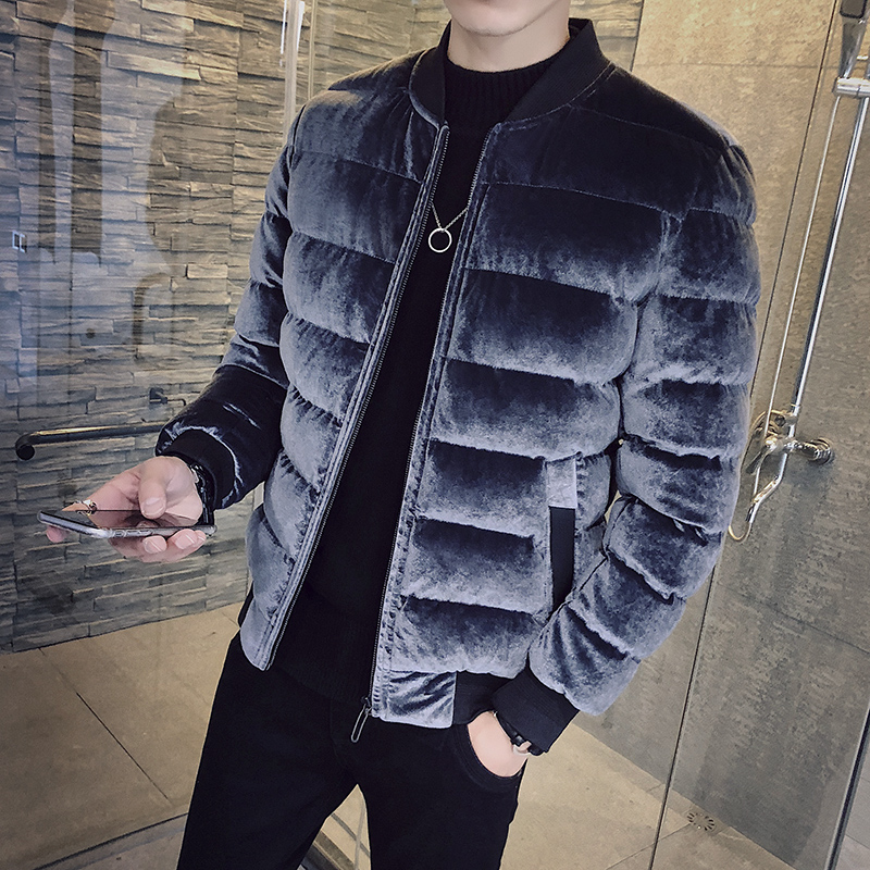 Gold velvet cotton clothes men's jacket winter 2018 new Korean version of the trend personality plus velvet thick cotton jacket