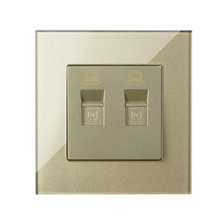 Free Shipping,MVAVA Double PC LAN Internet Outlet Luxury Wall Decorative Socket Dual Computer Jack Plug Receptacle Crystal