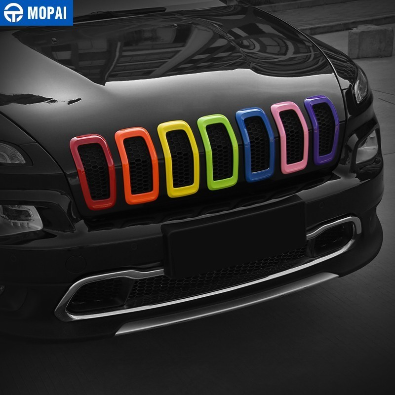 Image 2 - MOPAI Car Sticker for Jeep Cherokee 2014+ ABS Car Front Grilles Decoration Cover Stickers for Jeep Cherokee 2018 Car Accessories-in Car Stickers from Automobiles & Motorcycles