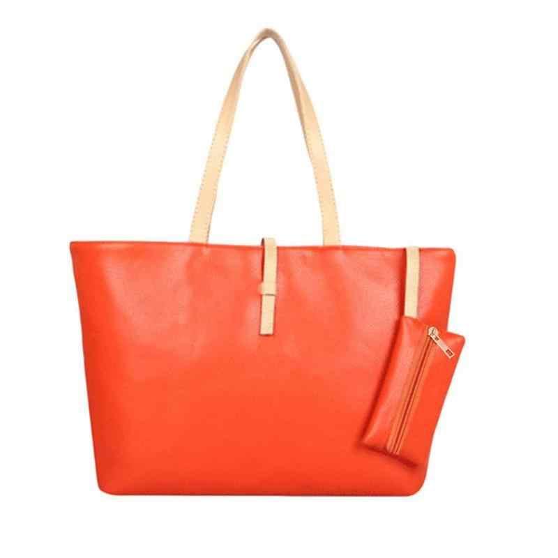 Wanita Tas Kulit Messenger Handbag Square Top-Handle Bahu Tas Dompet Mewah Wanita Besar Tote Sac Bolsas Femininas Sac utama