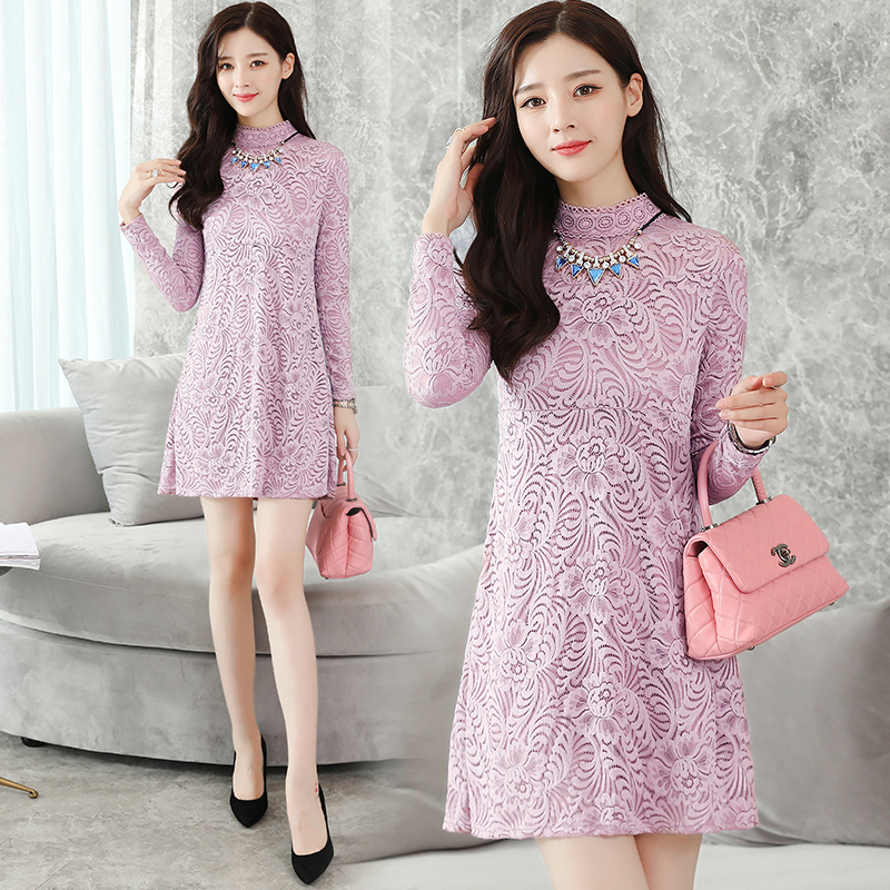 Elegant Dresses Hot Women 2019 Winter Spring Basic Wear Slim Office Lady  Hollow Out Crochet Black Pink Vintage Lace Tunic Dress-in Dresses from  Women s ... ead3dfb891cb