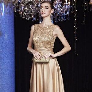 Image 2 - 安いサテンゴールドロイヤルブルーイブニングドレスのエレガントなフォーマルパーティー母のための花嫁のドレスプラスサイズ