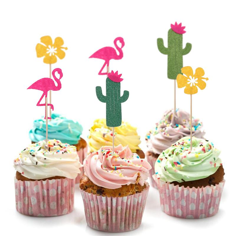 20pcs Set Hawaiian Glitter Paper Leaf Cupcake Pick Cake Topper Party Decor