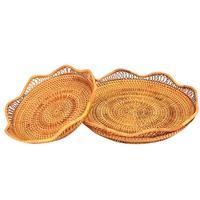 2PCS Bamboo Rattan Fruit Basket Candy Dessert Bowl Bread Tray Storage Basket Kitchen Storage Tools
