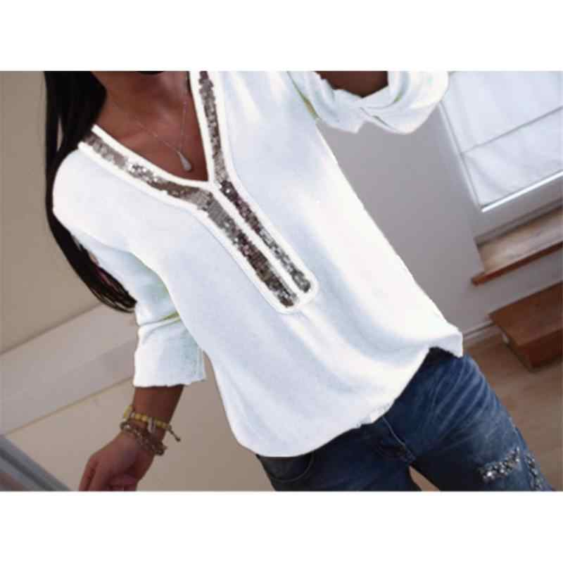 3bc60a74a0d31 2018 new Europe and America Style white Shirts V neck Full Sleeve Large Size  XL Solid