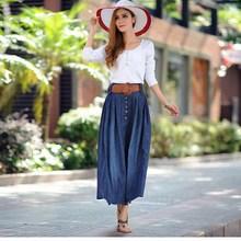 Fashion Women Plus Size Skirt Elastic Waist Pleated Denim Skirt Female Cowboy Long Big Swing Skirts dvorak dvorak symphony nos 9 180 gr