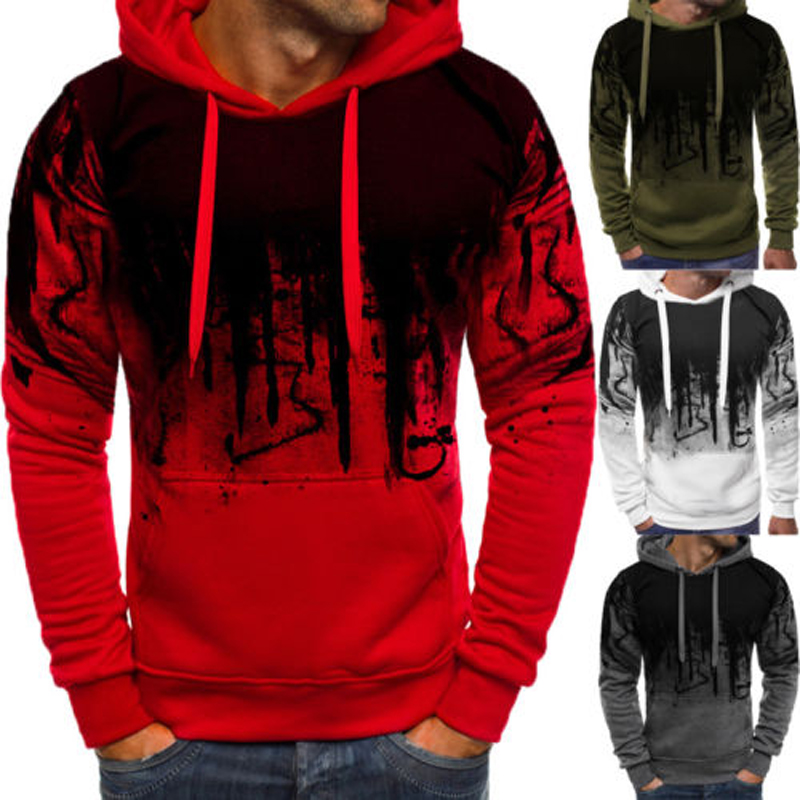 2018 Brand New Style Top Men Long Sleeve Hooded Casual Red Sweatshirt Pullover White Hoodie Sweat Jumper Coat  Hoodies