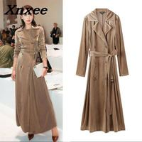 Women's gold velvet coat autumn long slim coats double breasted outerwear with belt trench coat casual tops Xnxee