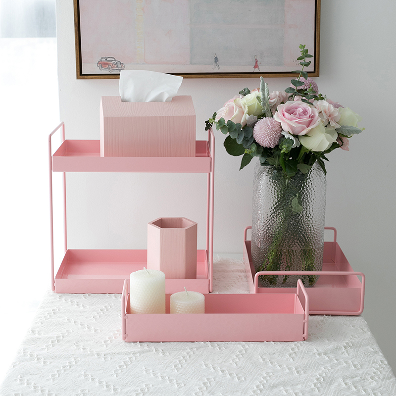 Matte pink storage bathroom racks home decoration jewelry display plate for makeup perfume candle holder Iron