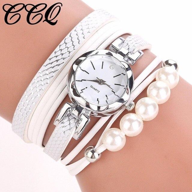 Fashion Women Leather Pearls Bracelet Watch Luxury Casual Female Jewelry Wrist W
