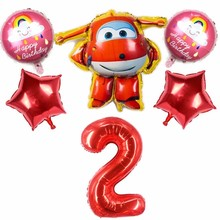 6pcs/lot  3D Super Wings Toy Balloons 40inch Number Foil Ballons Happy Birthday Party Decoration Kids Home Supplies