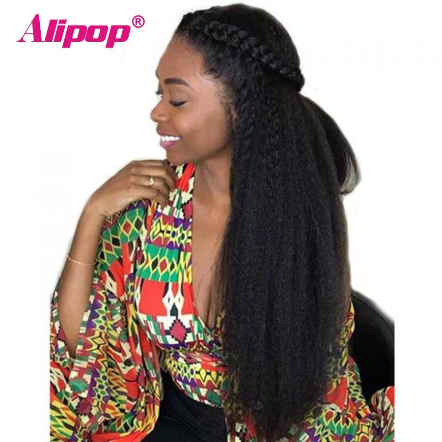 Alipop Pré plumé 360 Dentelle Frontale perruque 5 Pouces Partie avant De Lacet perruques De Cheveux Humains Avec Bébé Cheveux Crépus Droite brésilienne cheveux Remy
