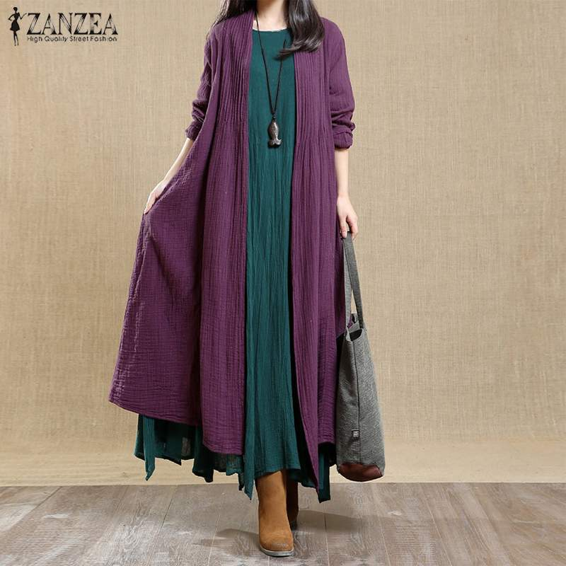ZANZEA 2019 Spring Vintage Cotton Linen Coats   Trench   Women Open Stitch Pleated Cardigans Outwear Female Overcoat Windbreakers