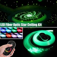 12V 6W RGB LED Fiber Optic Star Ceiling Engine Sky Ceiling Kit Light 150Pcs 0.75m 2m Optical Fiber Twinkle + 28 Key Wireless RF