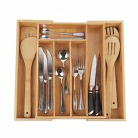 Retractable Multi-Functional Bamboo Storage Box Cutlery Tray Bamboo Drawer Organizer Practical Groceries Storage Box