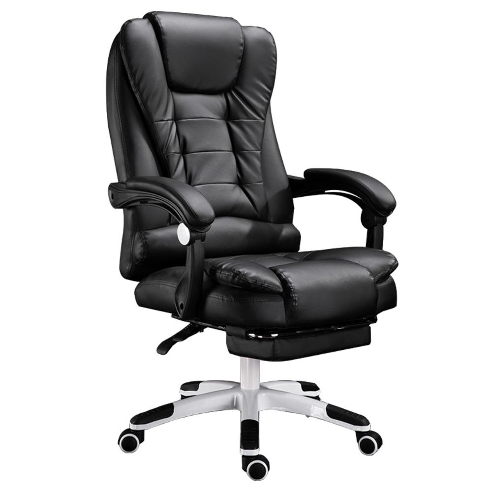 Купить с кэшбэком EU Household Work Office Lie Boss gaming Massage Footrest Lift Swivel Main Genuine Art computer game ergonomic leather Chair RU