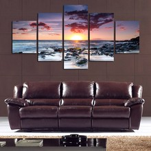 Modular Painting Decor Picture Cheap Framework Poster 5 Panel Sunset Seascape Sea Stones Modern Wall Art Canvas Prints Abstract