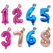2pcs 40inch Rose Gold And Blue Number Foil Balloons Cute Bear Birthday Party Decoration Ballons Babyshower Boy Girl Toy