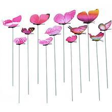 12 шт. имитация бабочка стержень цветочный горшок ваза садоводческий бонсай зеленое растение украшения полюс набор с вантузом бабочка