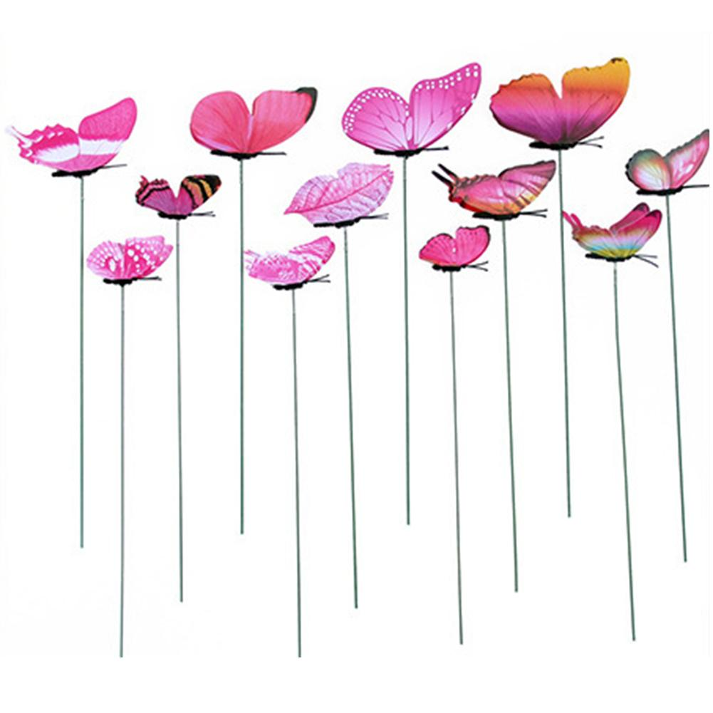 12pcs Simulation Butterfly Rod Flowerpot Vase Gardening Bonsai Green Plant Decoration Pole Set Plunger Set Butterfly