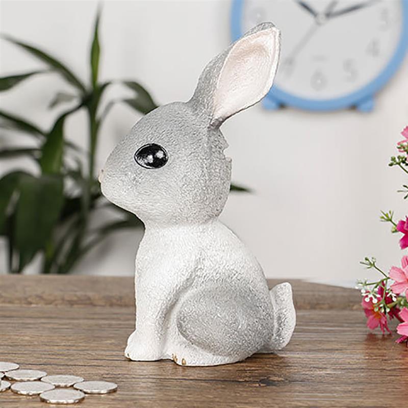 Multi-Functional Piggy Bank Cute Gray Rabbit Piggy Bank Decoration Ornaments Easter Children'S Gift Home Desktop Decoration