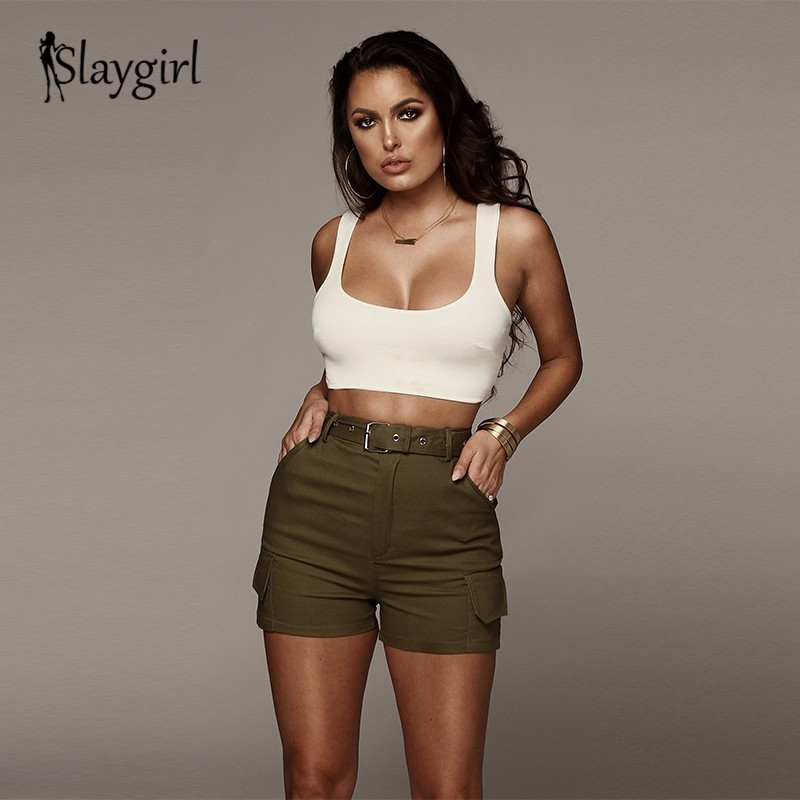 d446b0e6b65c4 Slaygirl Casual Green Sashes Button Denim Shorts Women Zipper Pockets High  Waist Summer Shorts Jeans Sequined