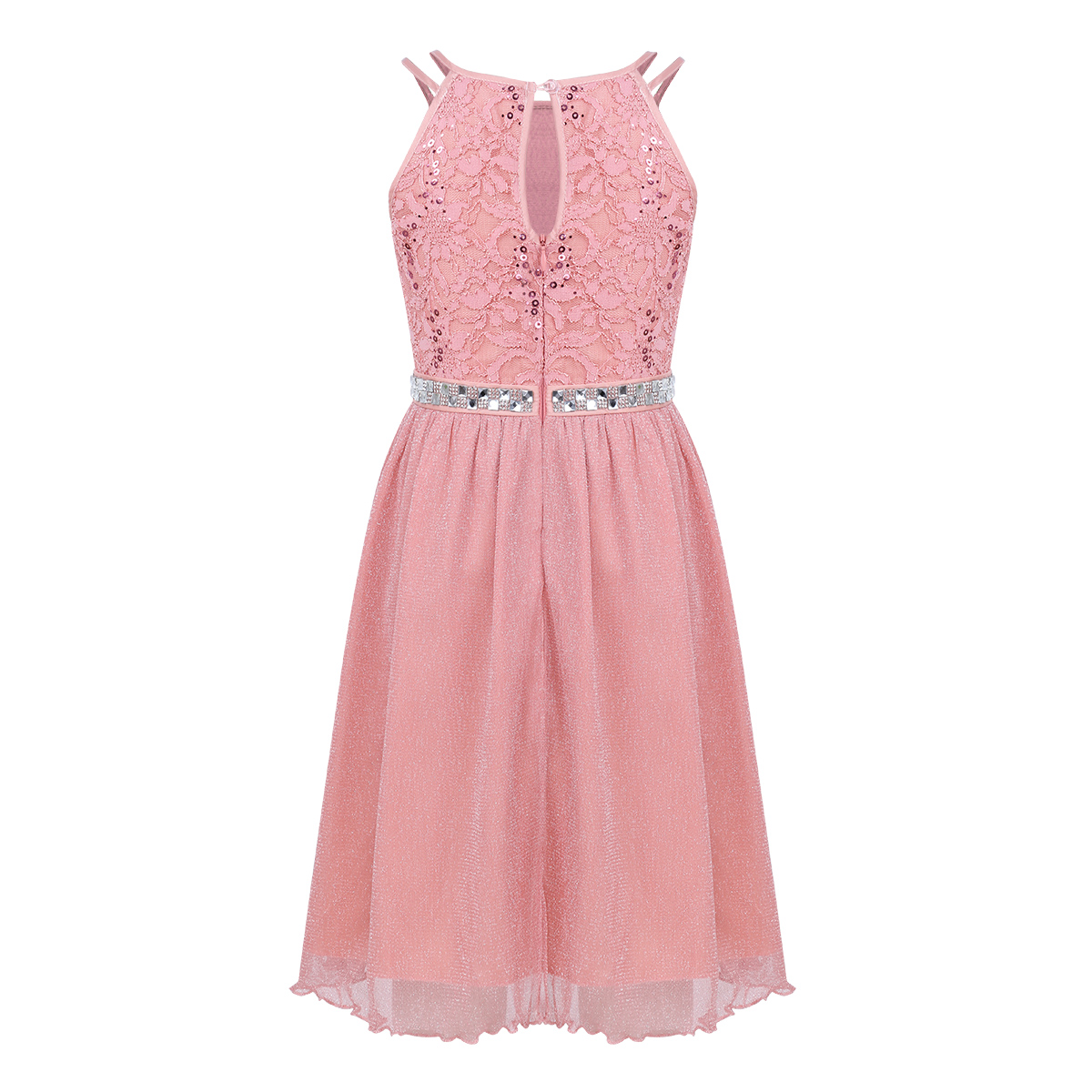 iiniim Teen Girls Sleeveless Sequined Floral Lace Shiny Dress Vestido de festa for Weeding Formal Birthday Party Summer Dresses 3