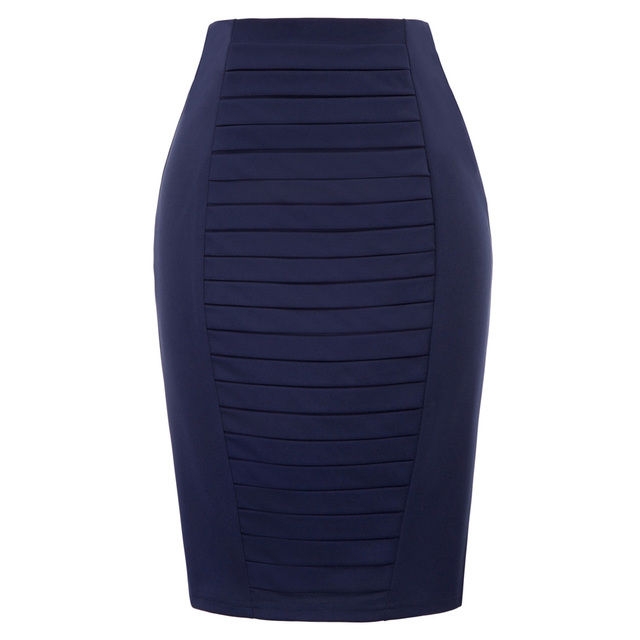 d5f9d2fb71442 Navy Blue Pleated front skirts womens Autumn vogue solid color vintage OL  skirt sexy hip wrap