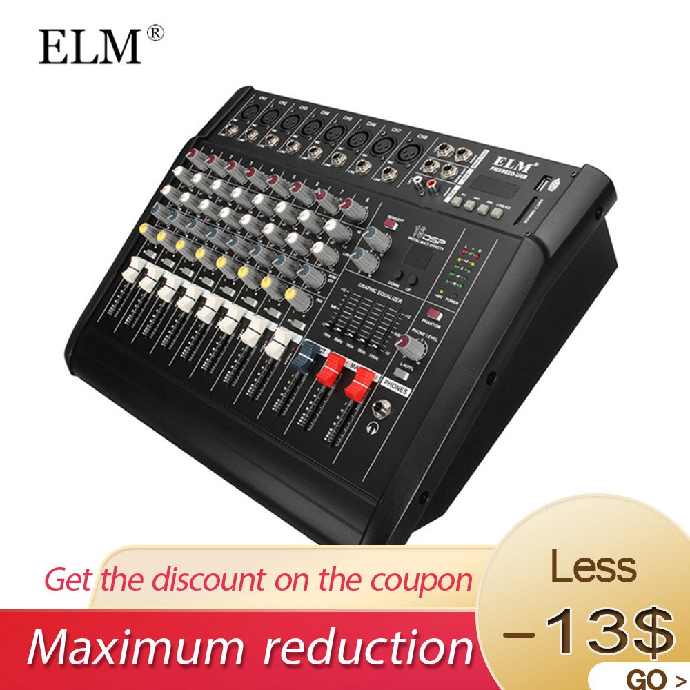 buy elm audio mixer console 8 channel built in 48v phantom power digital. Black Bedroom Furniture Sets. Home Design Ideas