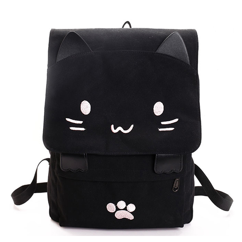 Fashion Cute Cat Embroidery Canvas Student Bag Cartoons Women Backpack Leisure School Bag